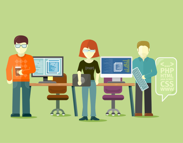 Programmers team people group flat style. Programming and computer programmer, development and code, computer and programming code, internet web, coding technology illustration
